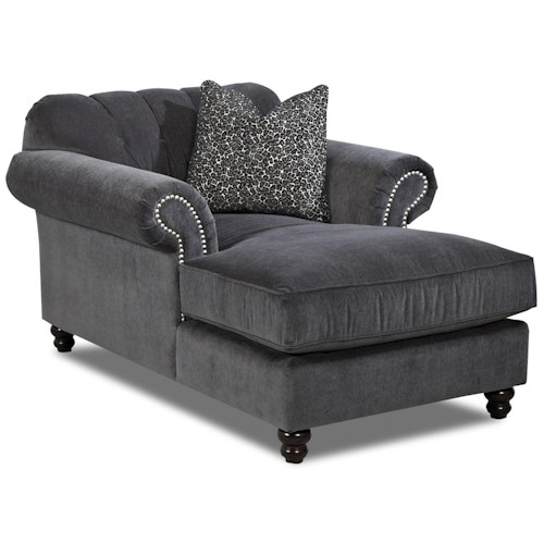 Klaussner Flynn Traditional Chaise with Button Tufted Back, Rolled Arms and Throw Pillow