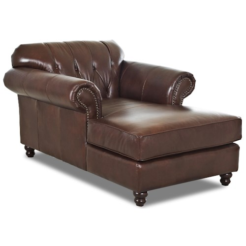 Elliston Place Flynn Traditional Chaise with Button Tufted Back and Rolled Arms