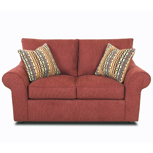 Klaussner Folio Contemporary Rolled Arm Loveseat