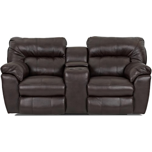 Klaussner Freeman Casual Power Reclining Love Seat with Pillow Top Arms and Storage Console