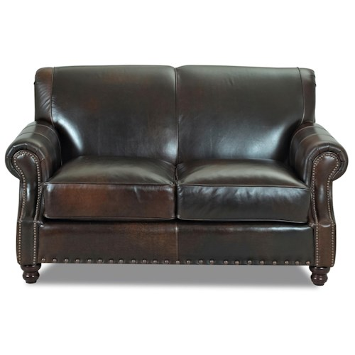 Elliston Place Fremont  Traditional Leather Loveseat with Nail Head Trim