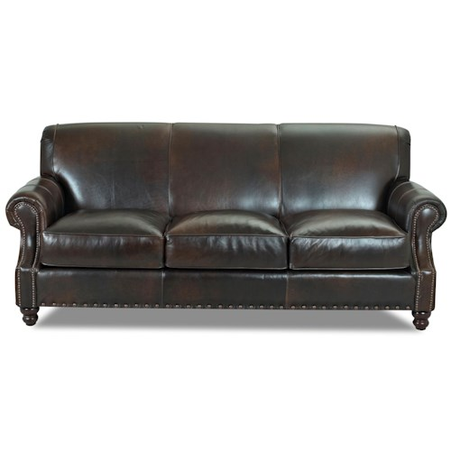 Elliston Place Fremont  Traditional Leather Stationary Sofa with Nail Head Trim
