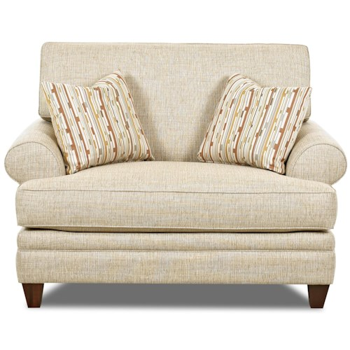 Elliston Place Fresno Transitional Oversized Chair with Accent Pillows