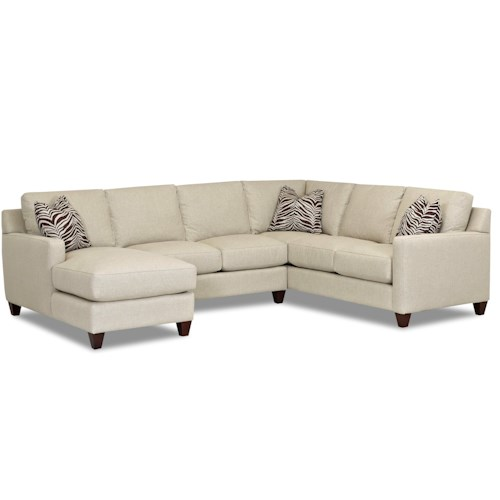 Klaussner Fuller Contemporary Stationary Sectional with Track Arms, Left Side Facing Chaise and Down Blended Cushions