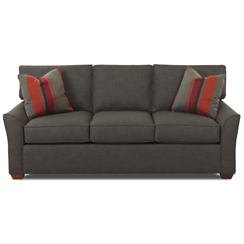 Klaussner Grady Contemporary 3 Seat Queen Innerspring Sleeper Sofa with Box Seat Cushions