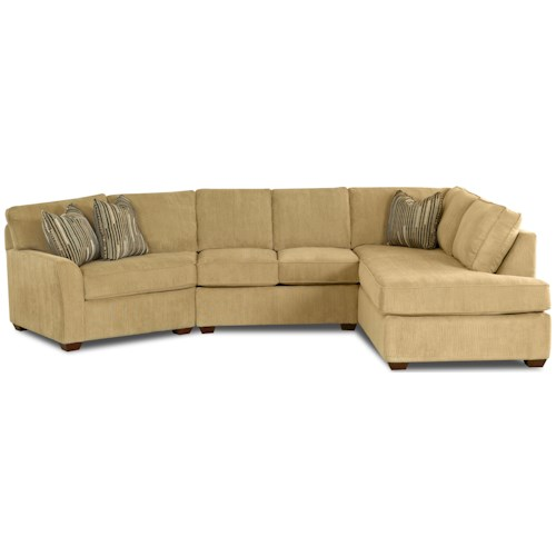 Klaussner Grady Contemporary Sectional Sofa with Right Chaise