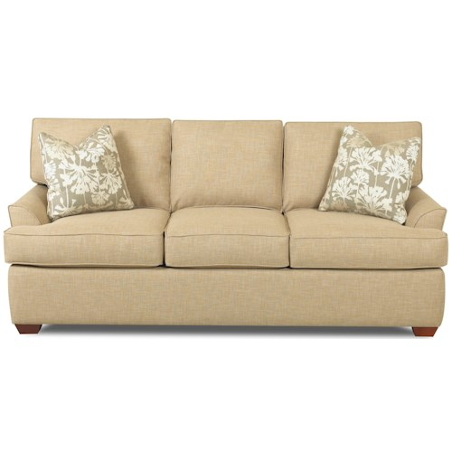 Klaussner Grady Contemporary 3 Seat Sofa with Flared Arms and T-Seat Cushions