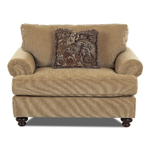 Klaussner Greenvale Traditional Big Chair with Rolled Arms
