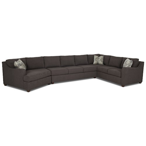 Elliston Place Greer Contemporary 3 Piece Sectional with Track Arms and LAF Cuddler