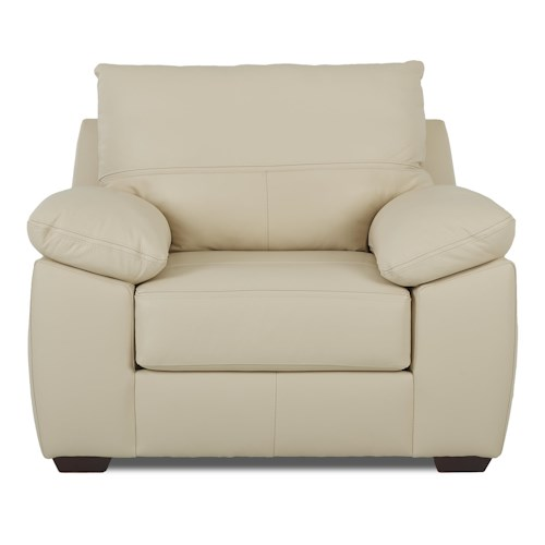 Klaussner Hamden Casual Upholstered Big Chair with Pillow Arms and Attached Back