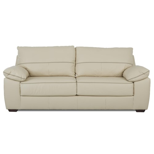 Klaussner Hamden Casual Stationary Sofa with Pillow Arms and Attached Back