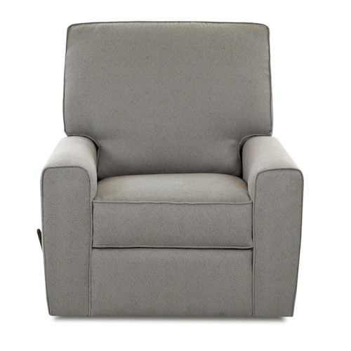 Klaussner Hannah Transitional Swivel Gliding Reclining Chair with Straight Track Arms