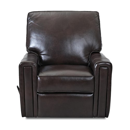 Klaussner Hannah Transitional Swivel Rocking Reclining Chair with Straight Track Arms