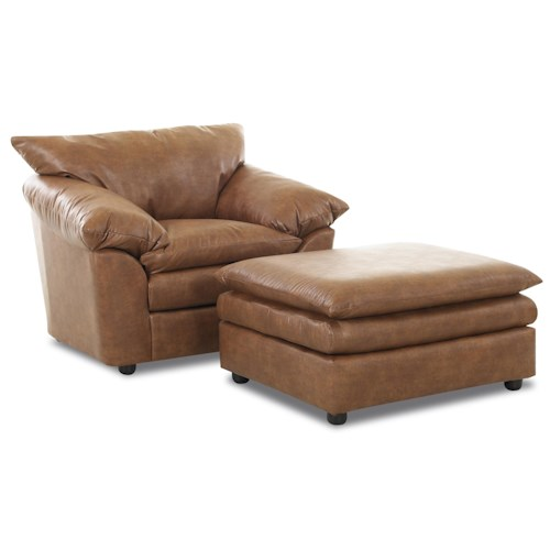 Elliston Place Heights Pillow Top Resting Chair with Matching Ottoman