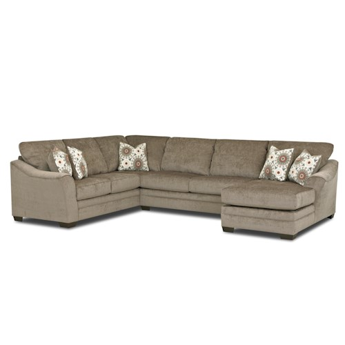 Elliston Place Heston Contemporary Sectional Sofa with Flared, Sloped Arms and Right Side Facing Chaise