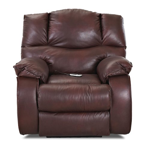 Klaussner Hillside Casual Gliding Reclining Chair with Plush Pillow Arms and Headrest