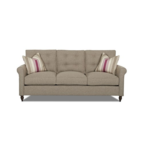 Elliston Place Holland Traditional Sofa with Button Tufted Back Cushions