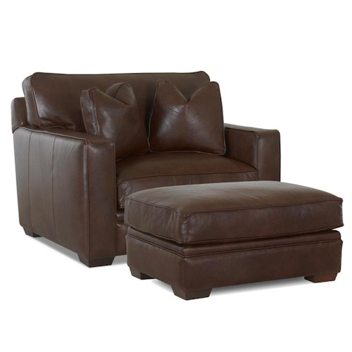Klaussner Homestead Leather Chair and Ottoman