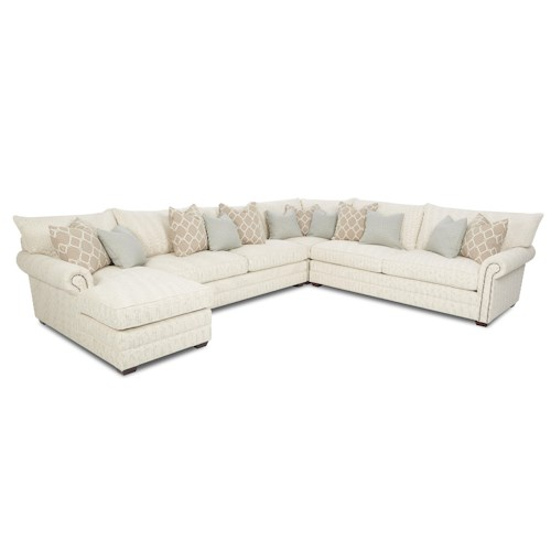 Elliston Place Huntley Traditional Sectional Sofa with Nailhead Trim and Chaise Lounge