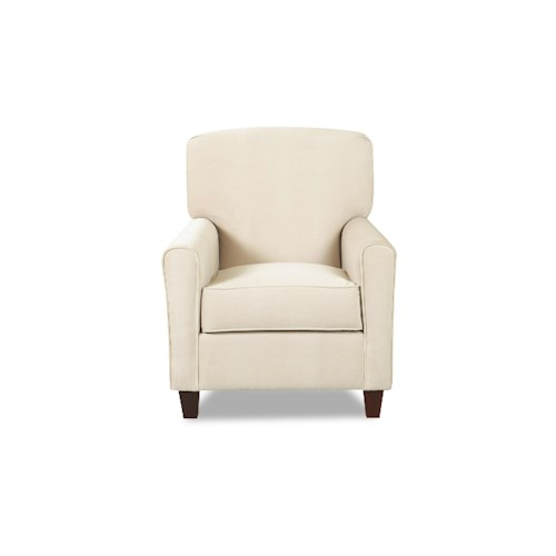 Elliston Place Hybrid Casual Stationary Chair with Arched Track Arms and Rounded Back Cushion and Tall Tapered Feet