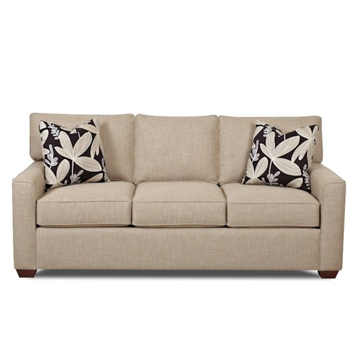 Klaussner Hybrid Casual Stationary Sofa with Back T-Cushion and Welt Cord Trim