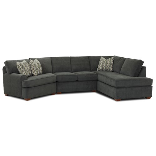 Klaussner Hybrid Sectional Sofa with Right-Facing Sofa Chaise