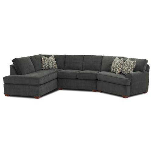 Klaussner Hybrid Sectional Sofa with Left-Facing Sofa Chaise