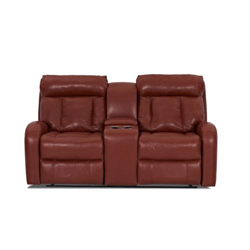 Klaussner Jagger  Console Reclining Loveseat with Cup Holders