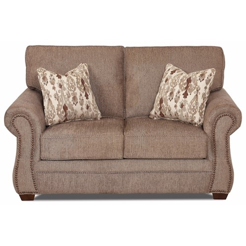 Klaussner Jasper Traditional Loveseat with Nailhead Trim