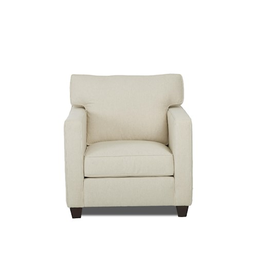 Klaussner Jeffrey  T Back Cushion Chair with Track Arms