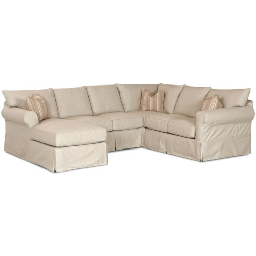 Elliston Place Jenny Slip Cover Sectional Sofa with Left Chaise