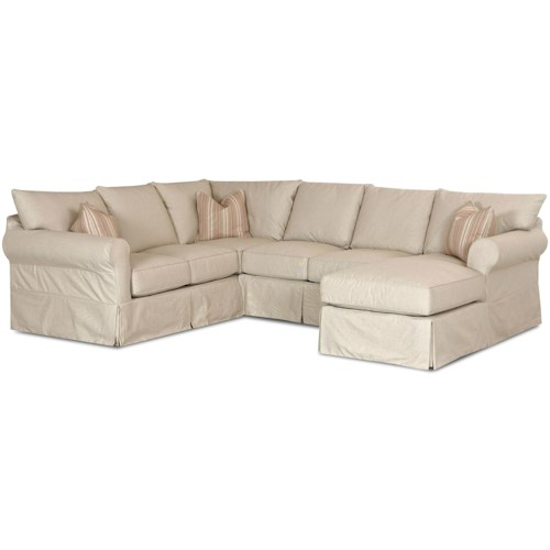 Elliston Place Jenny Slip Cover Sectional Sofa with Right Chaise