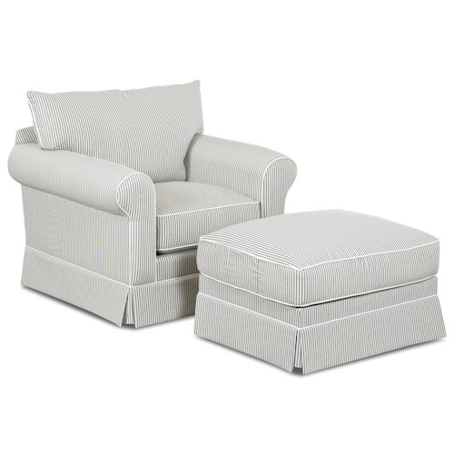 Elliston Place Jenny Transitional Skirted Chair and Ottoman Set