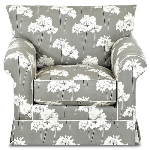 Klaussner Jenny Transitional Chair with Rolled Arms