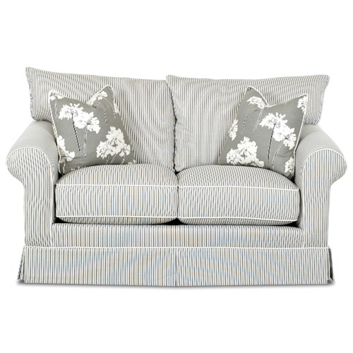 Klaussner Jenny Transitional Loveseat with Rolled Arms