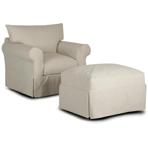 Klaussner Jenny Slipcover Chair & Ottoman with Rolled Arms and Skirts