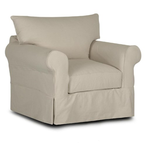 Elliston Place Jenny Slipcover Chair with Rolled Arms and Skirt