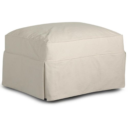 Elliston Place Jenny Slipcover Ottoman with Long Skirt