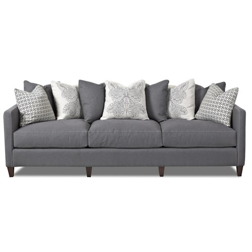 Klaussner Jordan Large 3 Cushion Tuxedo Arm Sofa with Pillow Backs