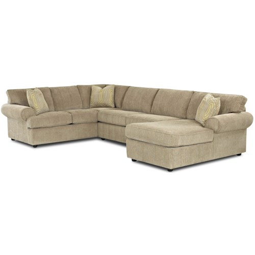 Klaussner Julington Transitional Sectional Sofa with Rolled Arms and Right Chaise and Full Dreamquest Sleeper