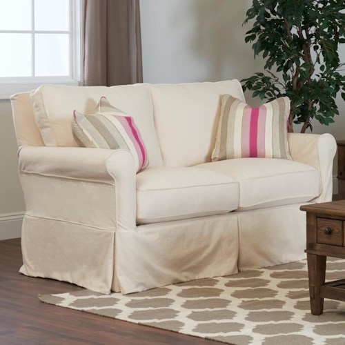 Klaussner Kenmore Loveseat with Slipcover