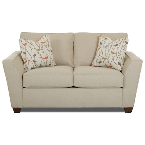 Klaussner Kent Casual Loveseat with Flared Arms