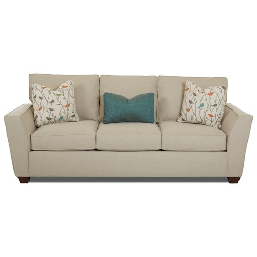 Klaussner Kent Casual Sofa with Flared Arms