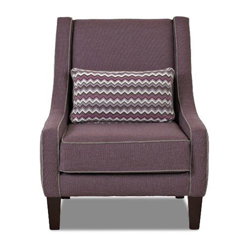 Elliston Place Chairs and Accents Matrix Accent Chair with Kidney Pillow and Welt Trim