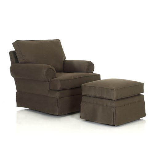 Elliston Place Chairs and Accents Carolina Rolled Arm Chair With Ottoman