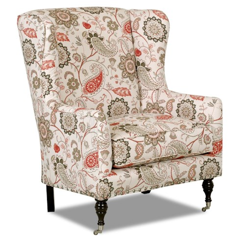Klaussner Chairs and Accents Edenton Wingback Accent Chair with Nailhead Trim