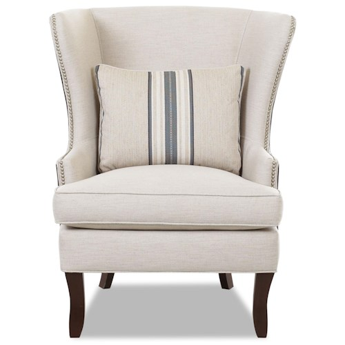 Klaussner Chairs and Accents Transitional Krauss Wing Chair with Nail Head Trim