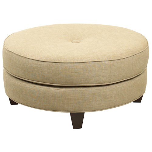 Elliston Place Chairs and Accents Round Pippa Ottoman with Center Button Tuft