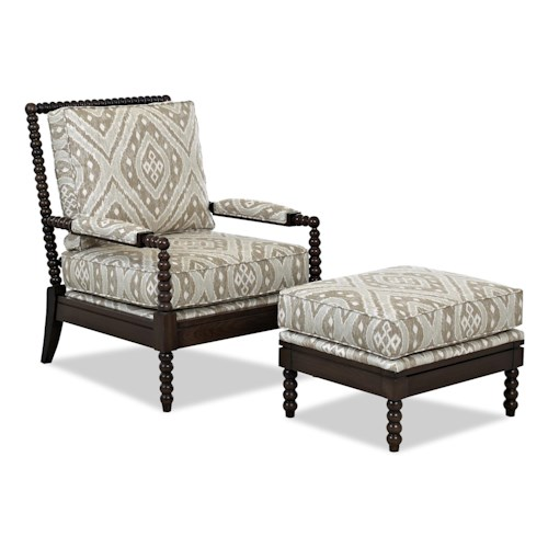 Elliston Place Chairs and Accents Rocco Accent Chair and Ottoman Set with Spool-turned Legs