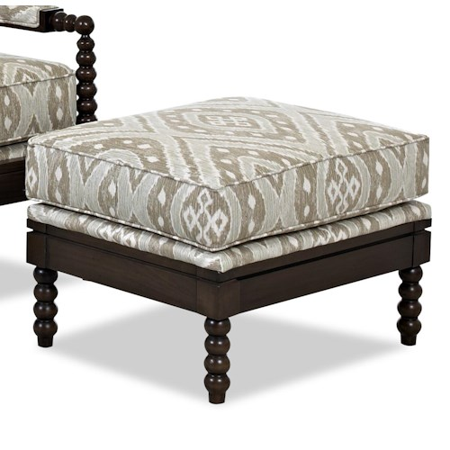 Elliston Place Chairs and Accents Rocco Ottoman with Turned Wood Details